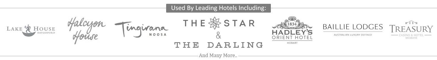 Treasury Casino, Halcyon House, The Star Casino, Jupiters Gold Coast, The Old Woolstore, Hilton, Baillie Lodges, Lake House Daylsford Logos