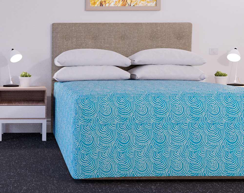 Practical Fitted Bedcover - Dot Ocean