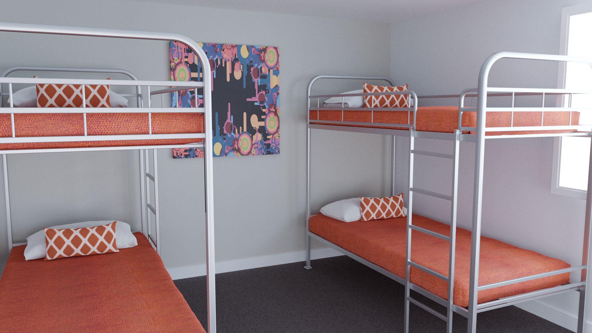 Cabin bunk beds covevered with Bunk Covers using Rattler Reverse Tango Fabric, Breakfast Cushions using Gem Orange fabric