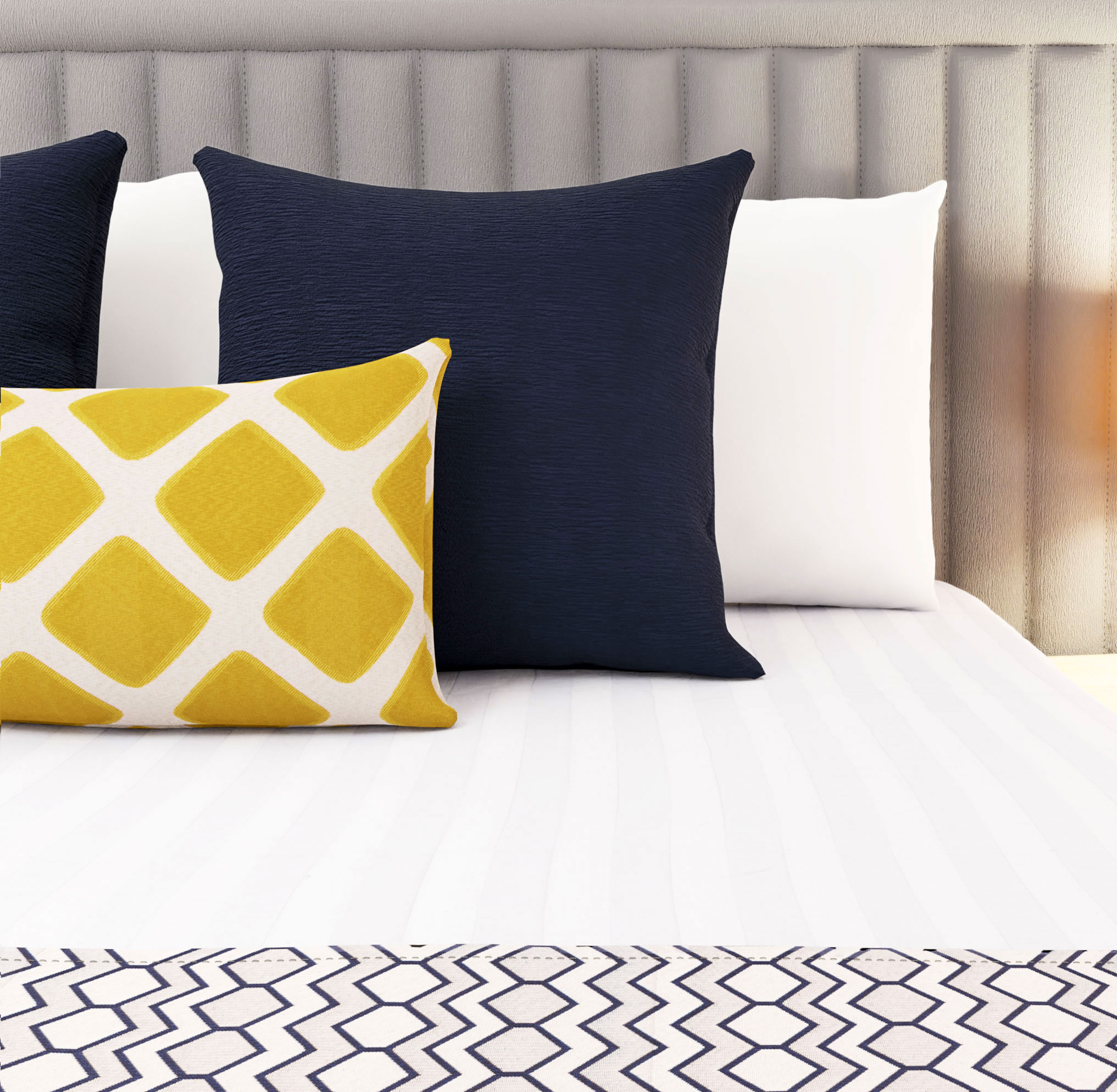 HotelHome Star Concept Navy Luxury Runner, Gen Mustard Breakfast Cushion, Persia Royal Large Decorative Cushions