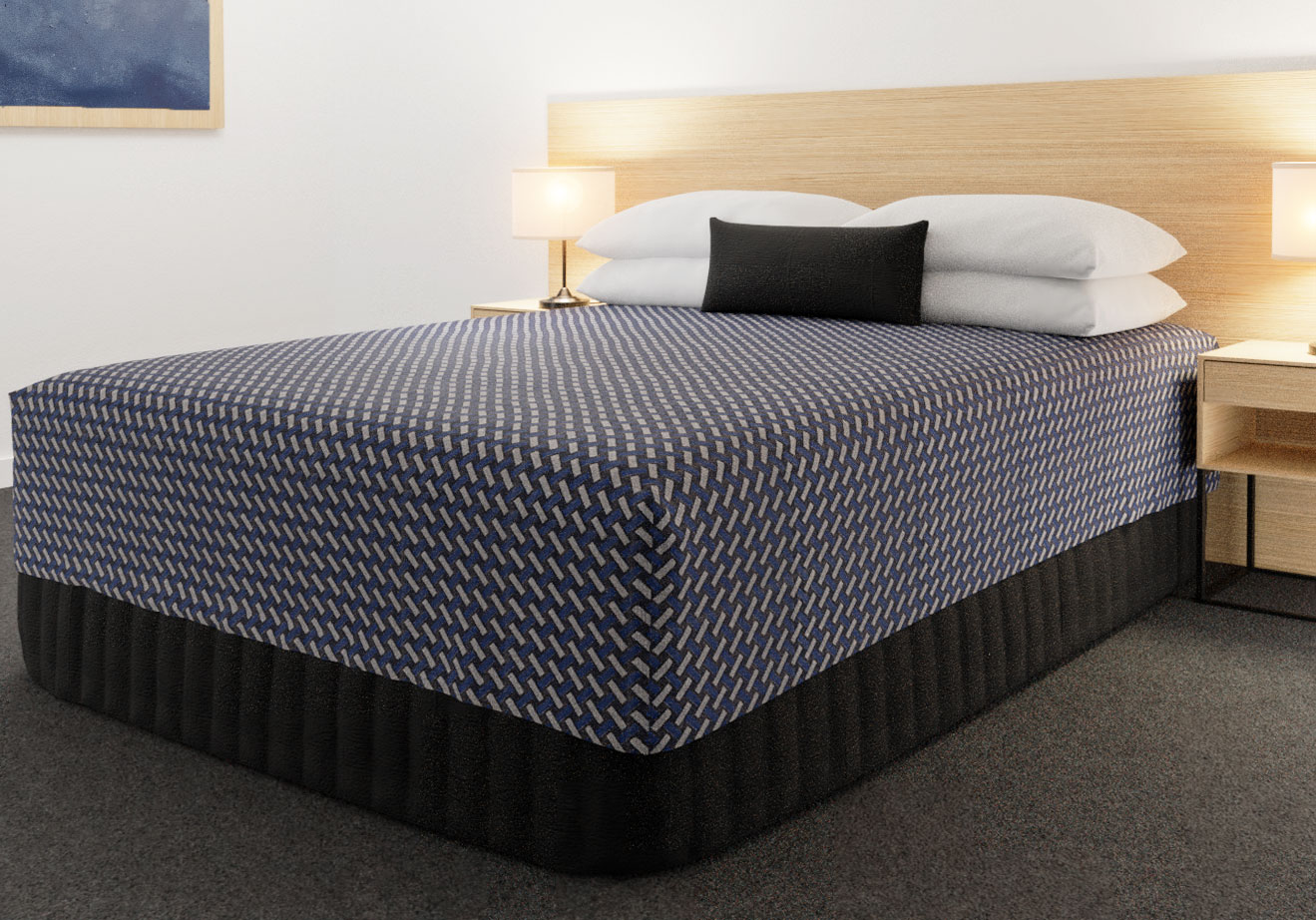 Practical Fitted Bed Cover - Cap Top - Flat Top Style - Basque Indigo with Siam Dark Navy Suite Valance and Breakfast Cushion