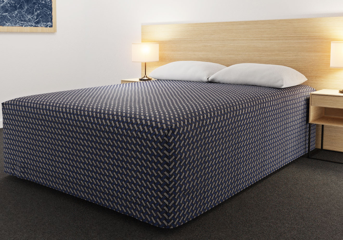 Practical Fitted Bed Cover - Full Drop - Flat Top Style - Basque Indigo