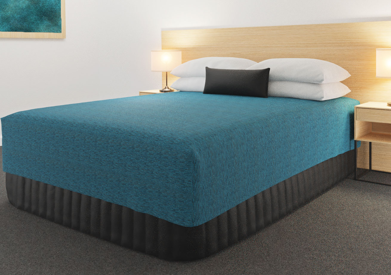 Practical Fitted Bed Cover - Cap Top - Flat Top Style - Lima Azure with Siam Charcoal Suite Valance and Breakfast Cushion