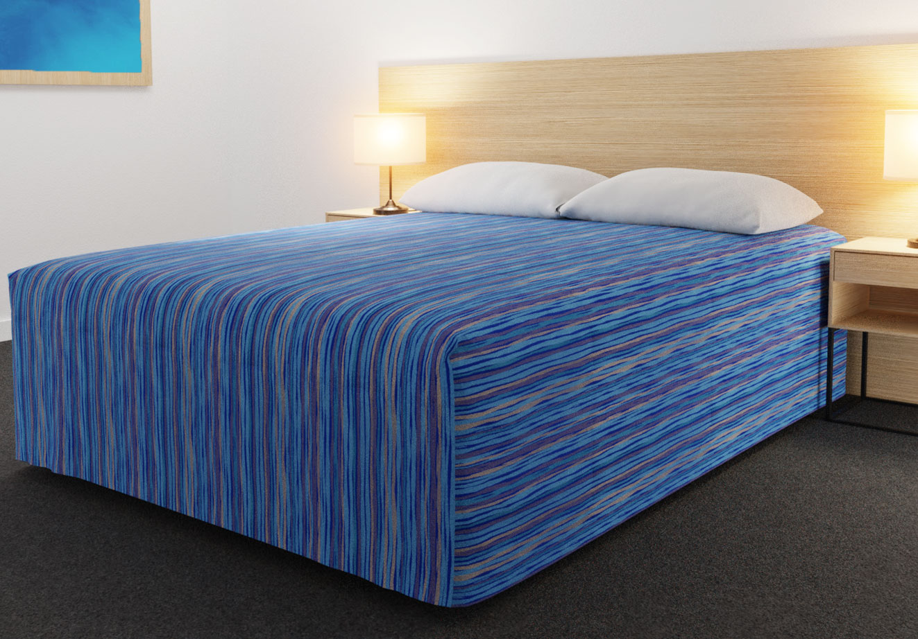 Practical Fitted Bed Cover - Full Drop - Flat Top Style - Malibu Aqua Gold