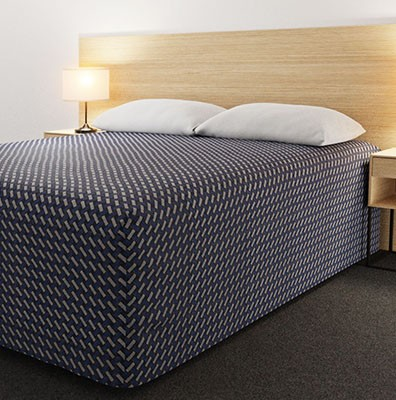 Practical Fitted Flat-Top Full Drop Bed Cover with Basque Indigo fabric