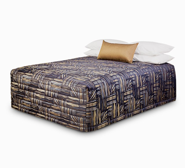 Contempo Flat Top Bedspread with Stacks Gold Navy fabric