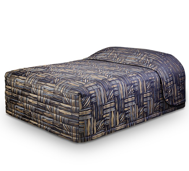 Contempo Standard Bedspread with Stack Gold Navy fabric