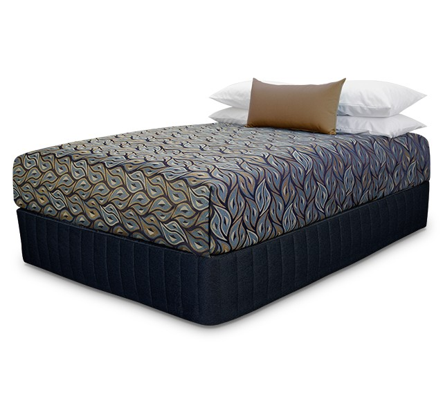 Presentation Bedcover with Voodoo Brass Navy fabric