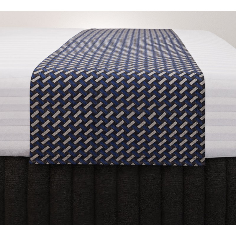 Basque Indigo Standard Mirage Runner with Siam Charcoal Suite Valance and Hampton Wide Stripe Quilt Cover
