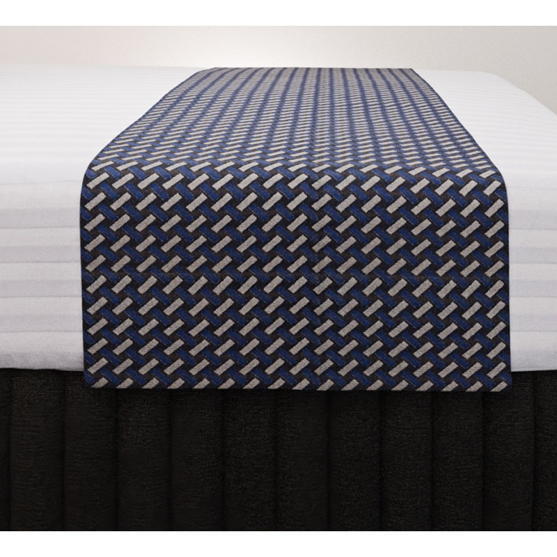 Basque Indigo Vogue Runner with Siam Charcoal Suite Valance and Hampton Wide Stripe Quilt Cover