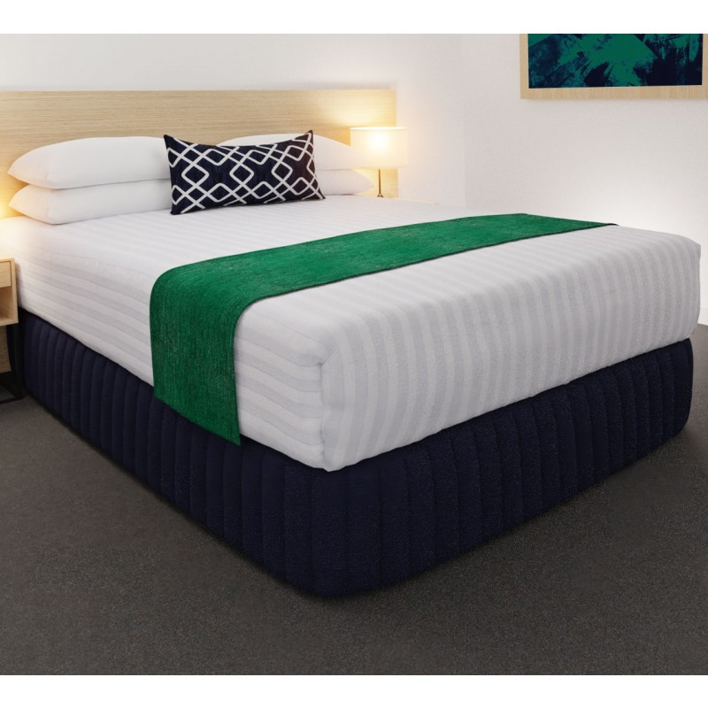 Clipper Jade Luxury Euro Runner with Chain Indigo Belair Cushion, Siam Dark Navy Suite Valance, Hampton Wide Stripe Quilt Cover and Hospitality Pillows