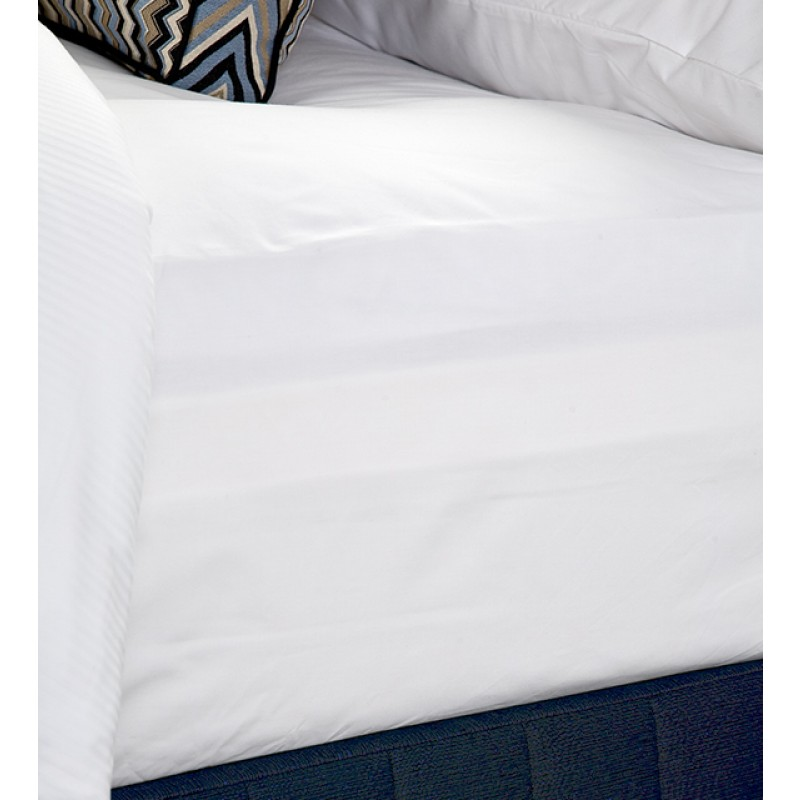 Bed Dressed with Fitted Sheet 45cm Drop (Corniche White), Suite Valance (Siam Dark Navy), Quilt Cover (Fine Stripe), Porto Cushion (Simoni Large Scale Gatsby Blue),  Majestic King Pillows with Majestic King Pillow Cases (Corniche White)