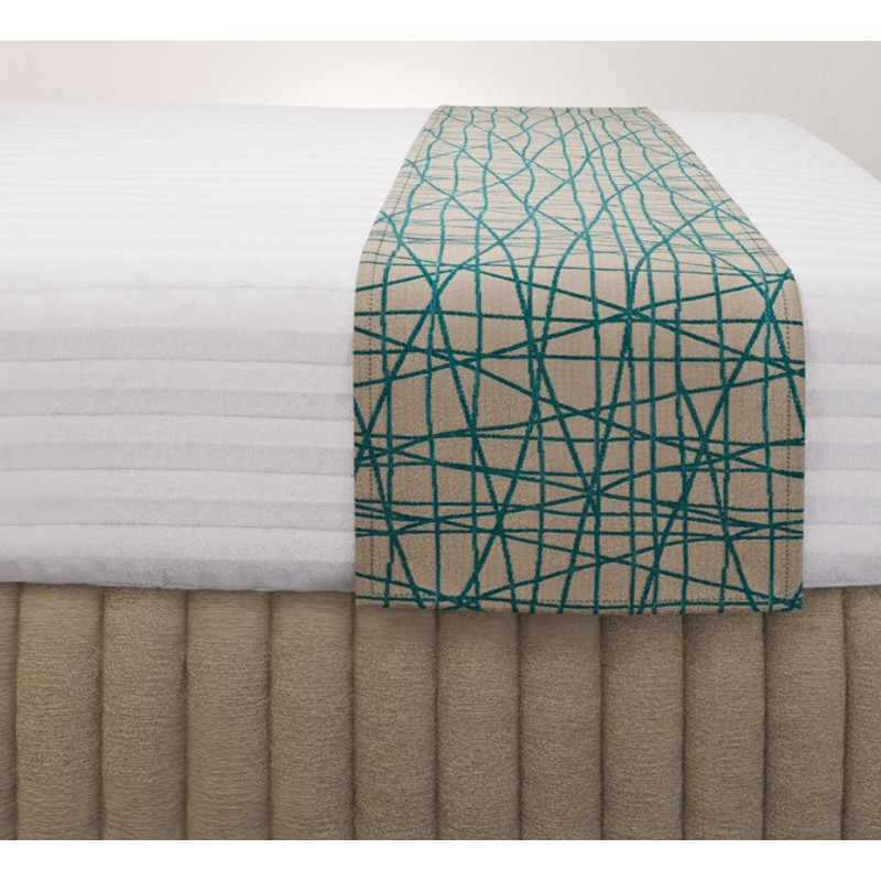 Fiddlesticks Coast Luxury Euro Runner with Siam Husk Suite Valance and Hampton Wide Stripe Quilt Cover