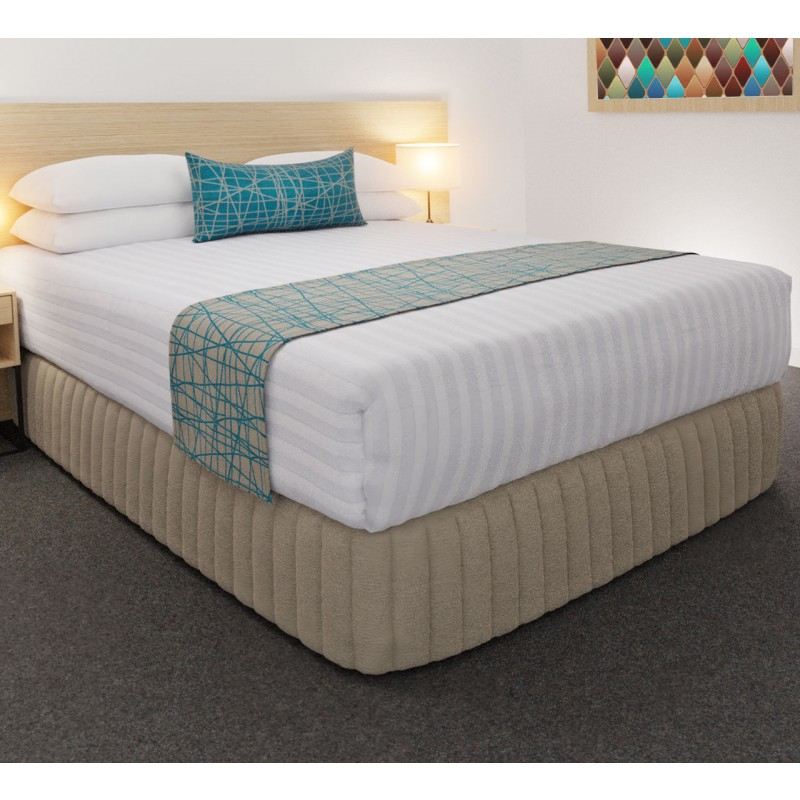 Fiddlesticks Electra Luxury Euro Runner and Belair Cushion with Siam Husk Suite Valance, Hampton Wide Stripe Quilt Cover and Hospitality Pillows