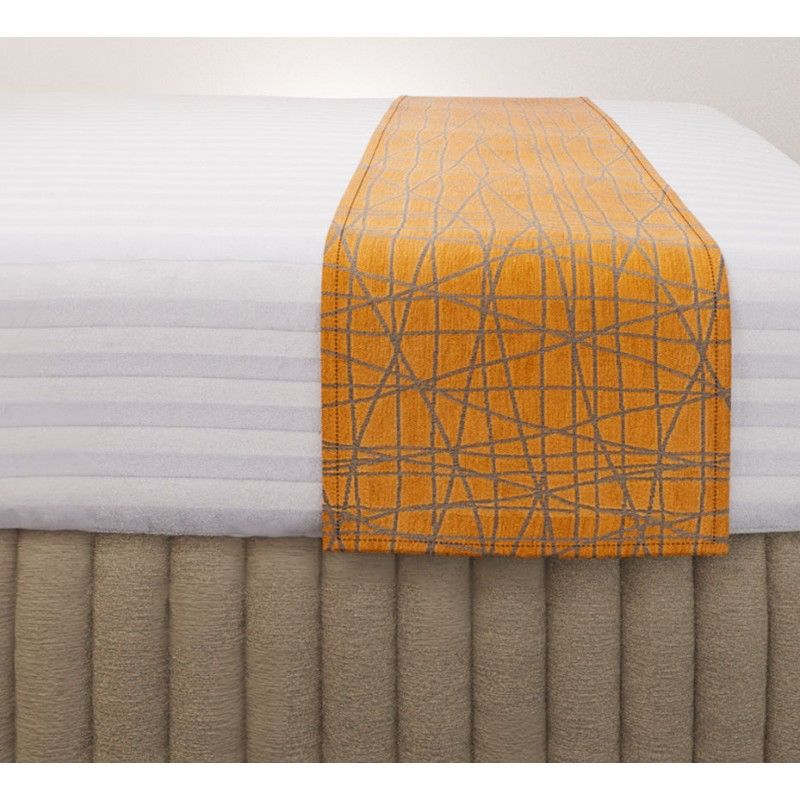 Fiddlesticks Saffron Luxury Euro Runner with Siam Husk Suite Valance and Hampton Wide Stripe Quilt Cover
