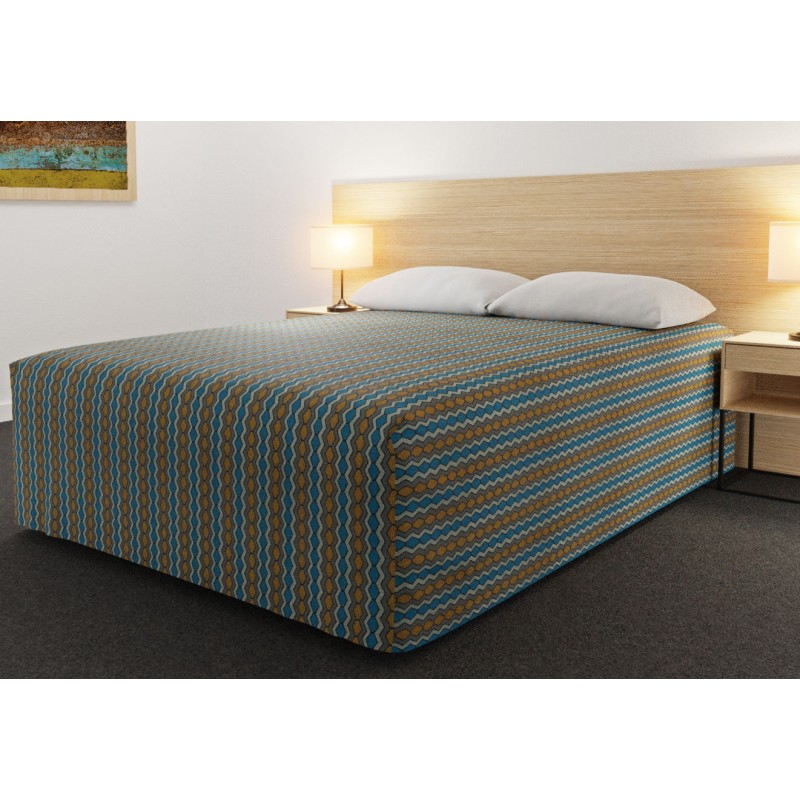 Practical Fitted Flat-Top Full Drop Bed Cover with Flex Gold Teal fabric