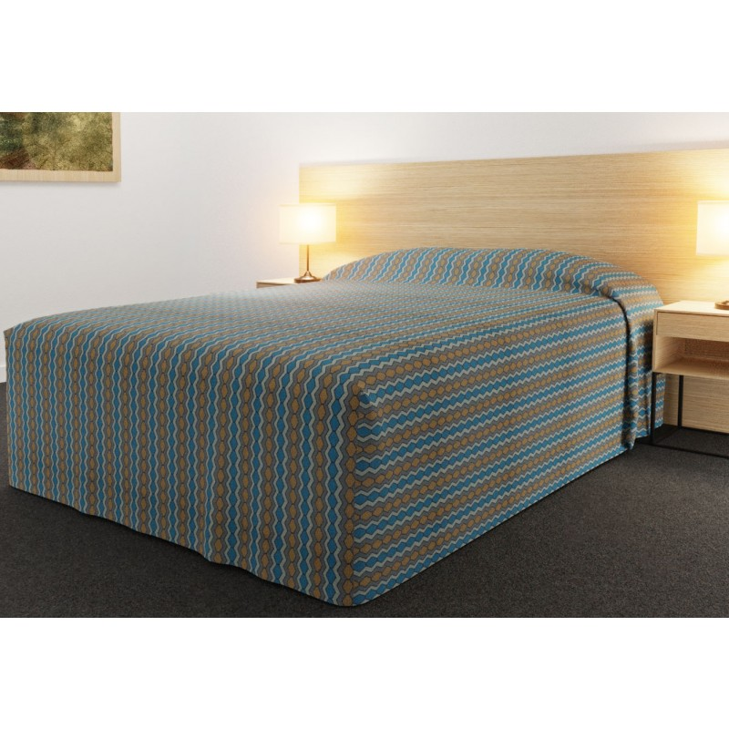 Practical Fitted Bedcover Standard Semi Long Top Full Drop with Flex Gold Teal fabric