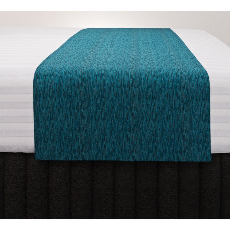 Lima Azure Vogue Runner with Siam Charcoal Suite Valance and Hampton Wide Stripe Quilt Cover
