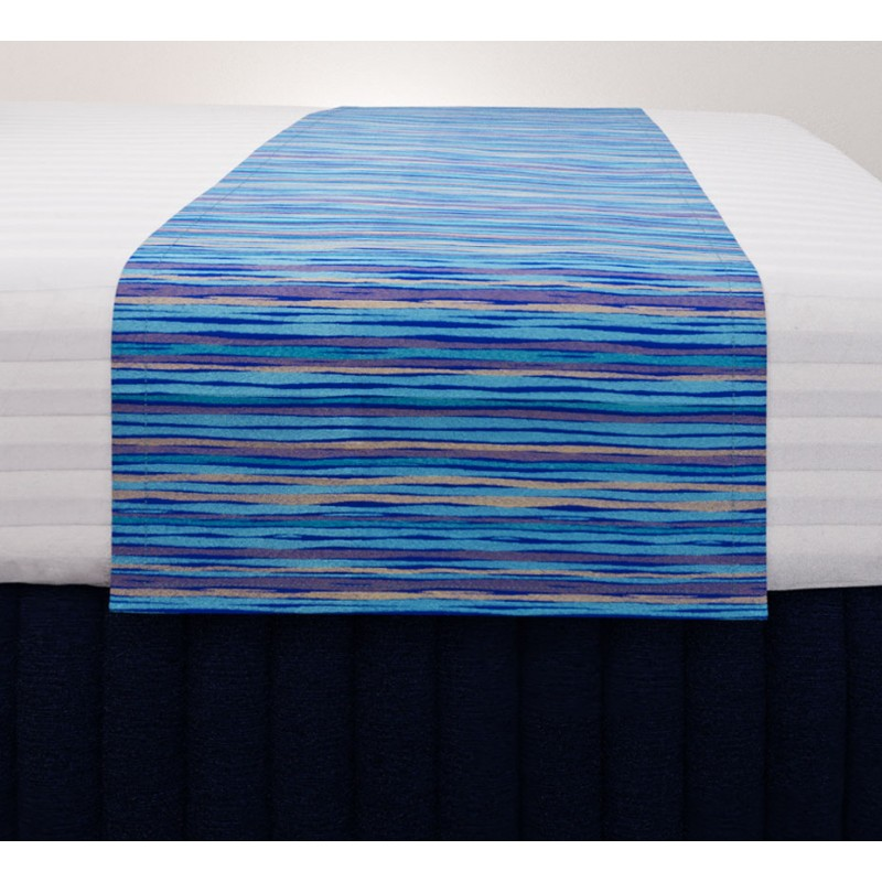 Malibu Aqua Gold Standard Mirage Runner with Siam Dark Navy Suite Valance and Hampton Wide Stripe Quilt Cover