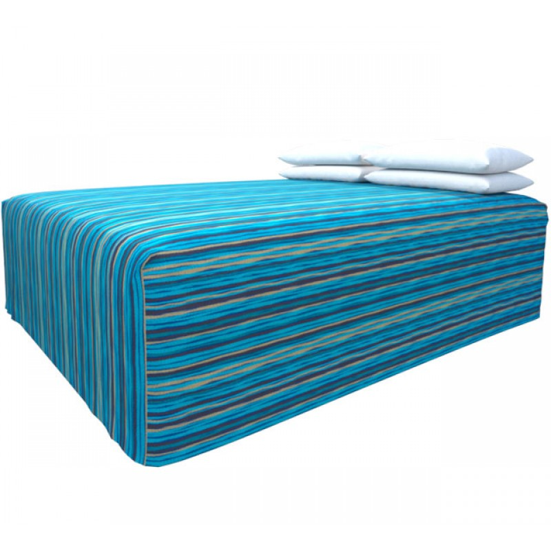 Practical Fitted Flat-Top Bed Cover with Malibu Aqua Gold fabric