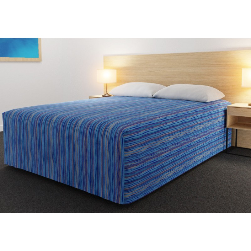 Practical Fitted Flat-Top Full Drop Bed Cover with Malibu Aqua Gold fabric