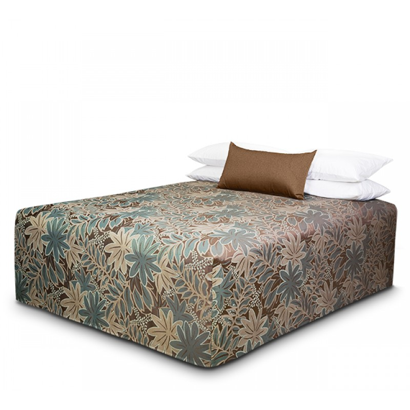 Practical Fitted Flat-Top Full Drop Bed Cover with Oasis Choc Teal fabric