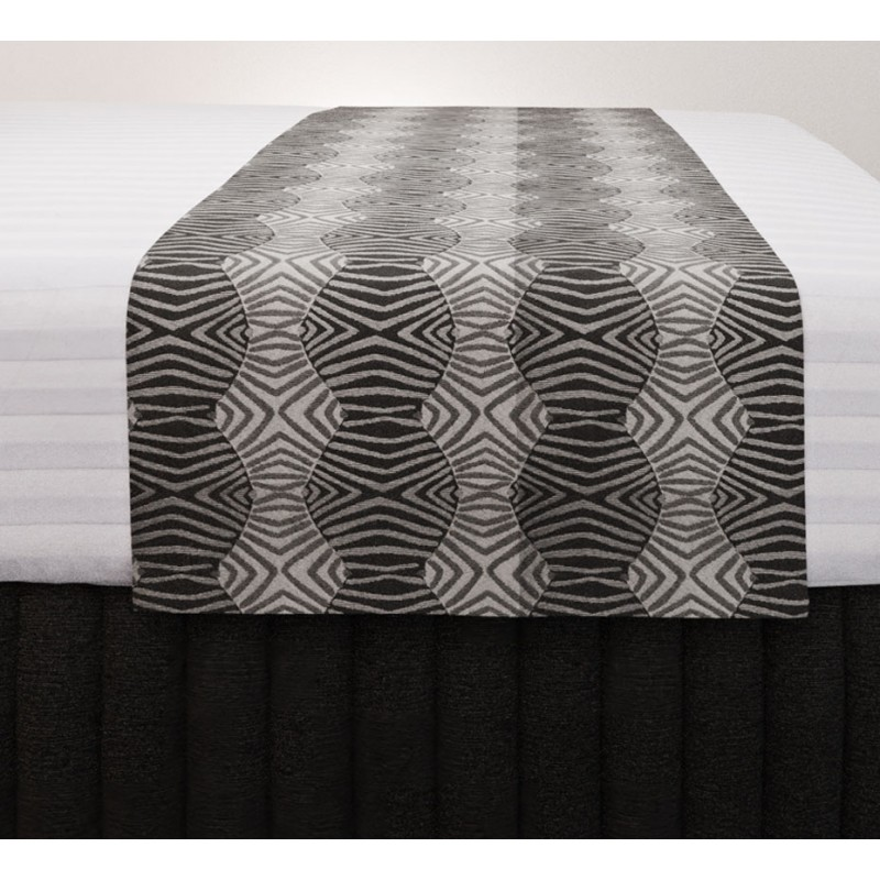 Tribal Slate Vogue Runner with Siam Charcoal Suite Valance and Hampton Wide Stripe Quilt Cover
