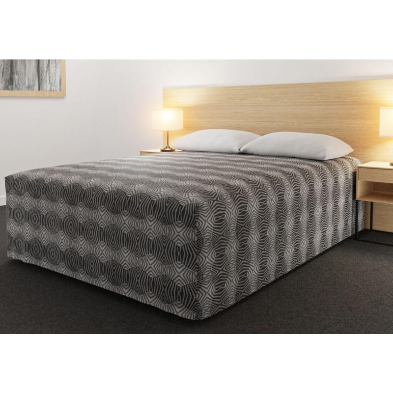 Practical Fitted Flat-Top Full Drop Bed Cover with Tribal Slate fabric