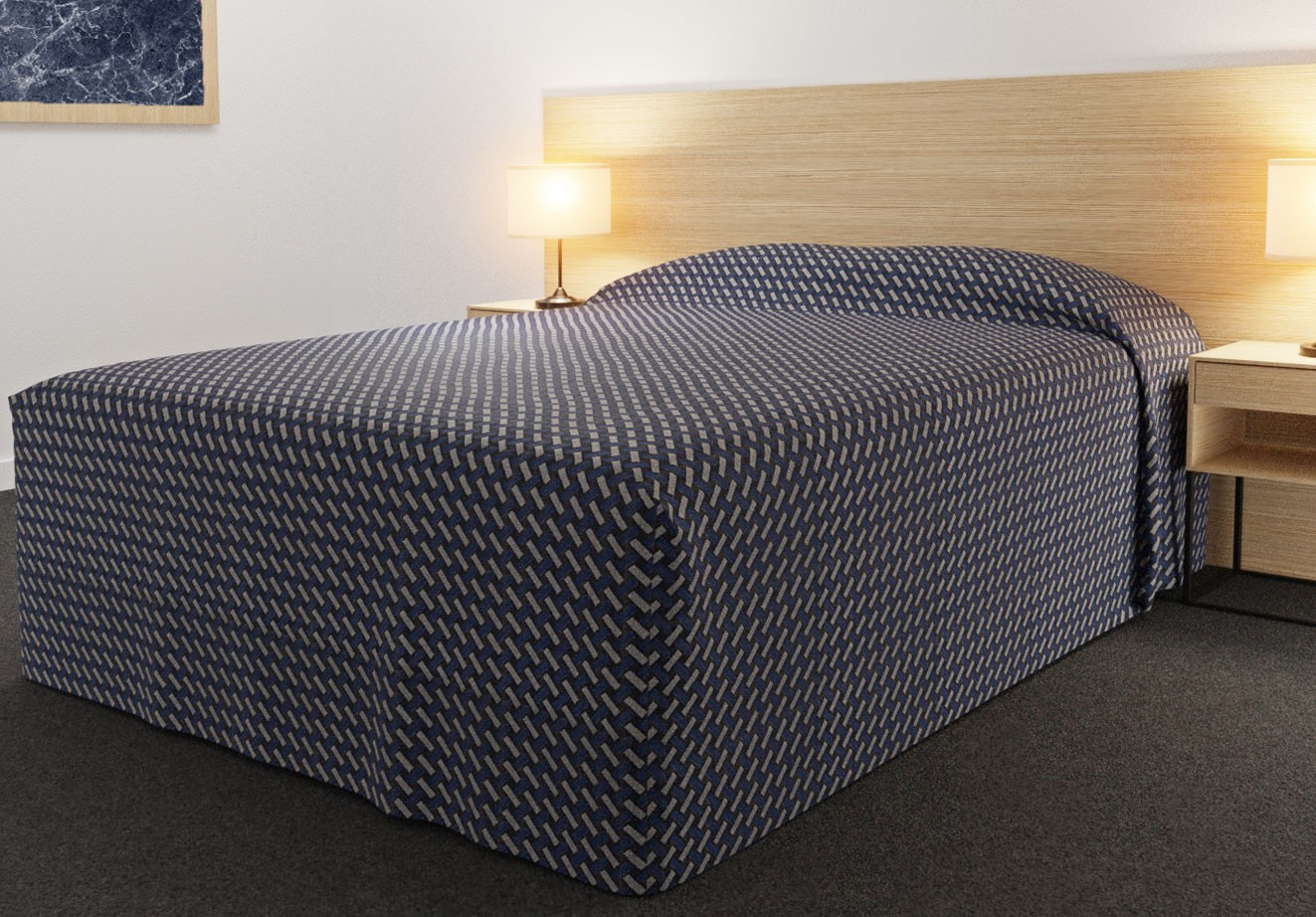Practical Fitted Bedcover Standard Semi Long Top Full Drop with Basque Indigo  fabric