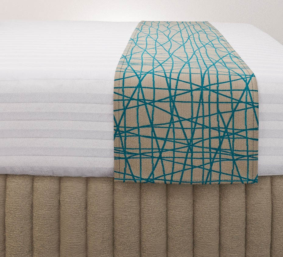 Fiddlesticks Electra Luxury Euro Runner with Siam Husk Suite Valance and Hampton Wide Stripe Quilt Cover