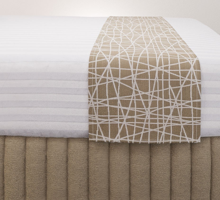Fiddlesticks String Luxury Euro Runner with Siam Husk Suite Valance and Hampton Wide Stripe Quilt Cover