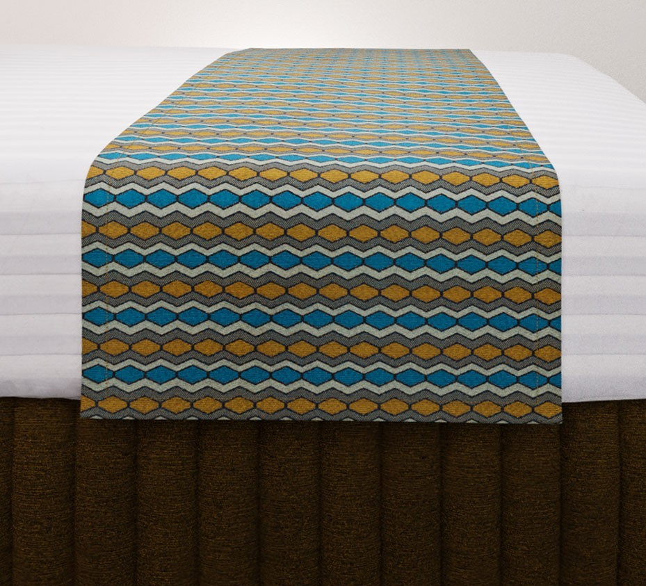 Flex Gold Teal Standard Mirage Runner with Siam Antique Gold Suite Valance and Hampton Wide Stripe Quilt Cover