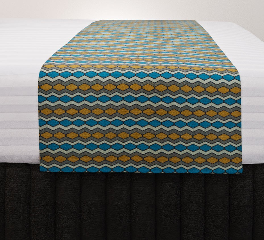 Flex Gold Teal Vogue Runner with Siam Charcoal Suite Valance and Hampton Wide Stripe Quilt Cover