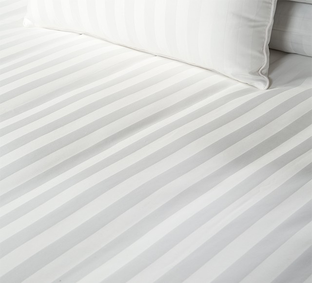 Bed Dressed with Quilt Cover (Hampton Stripe), Belair Cushion (Hampton Stripe)