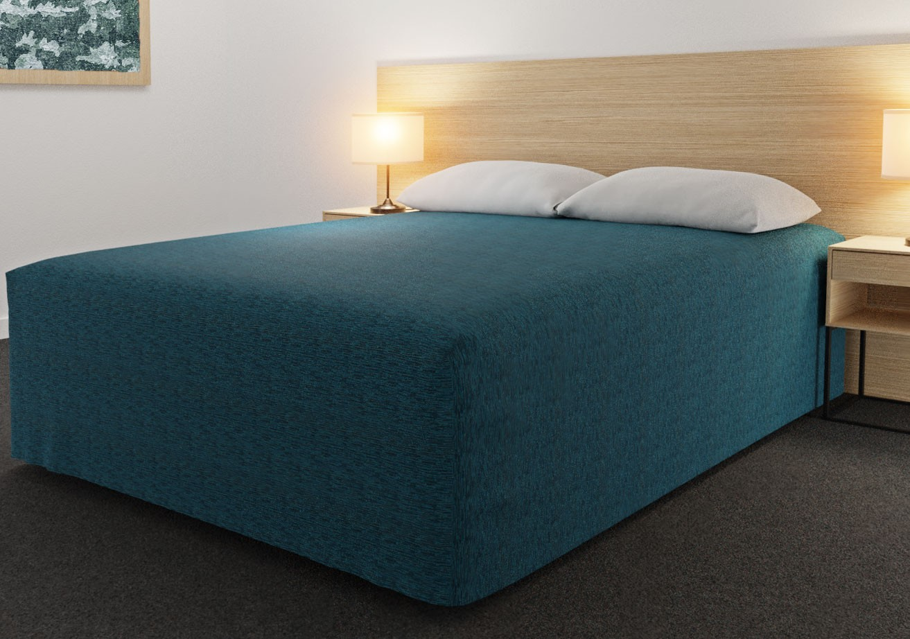Practical Fitted Flat-Top Full Drop Bed Cover with Lima Azure fabric