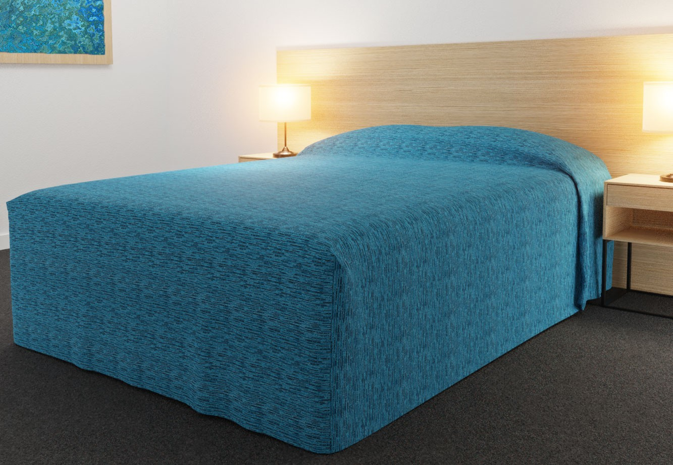 Practical Fitted Bedcover Standard Semi Long Top Full Drop with Lima Azure fabric