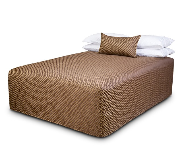 Practical Fitted Flat-Top Full Drop Bed Cover with Checkmate Brass fabric
