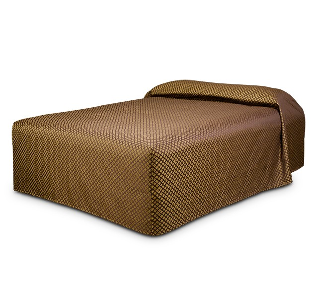 Practical Fitted Bedcover Standard Semi Long Top Full Drop with Checkmate Brass fabric