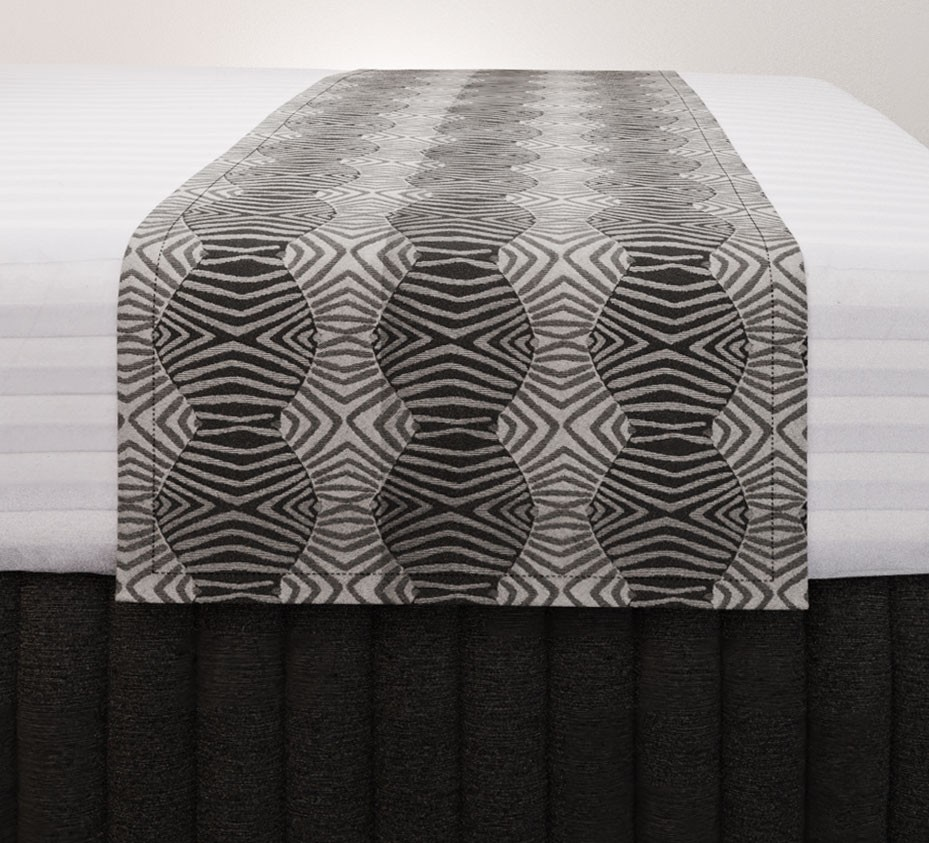 Tribal Slate Standard Mirage Runner with Siam Charcoal Suite Valance and Hampton Wide Stripe Quilt Cover