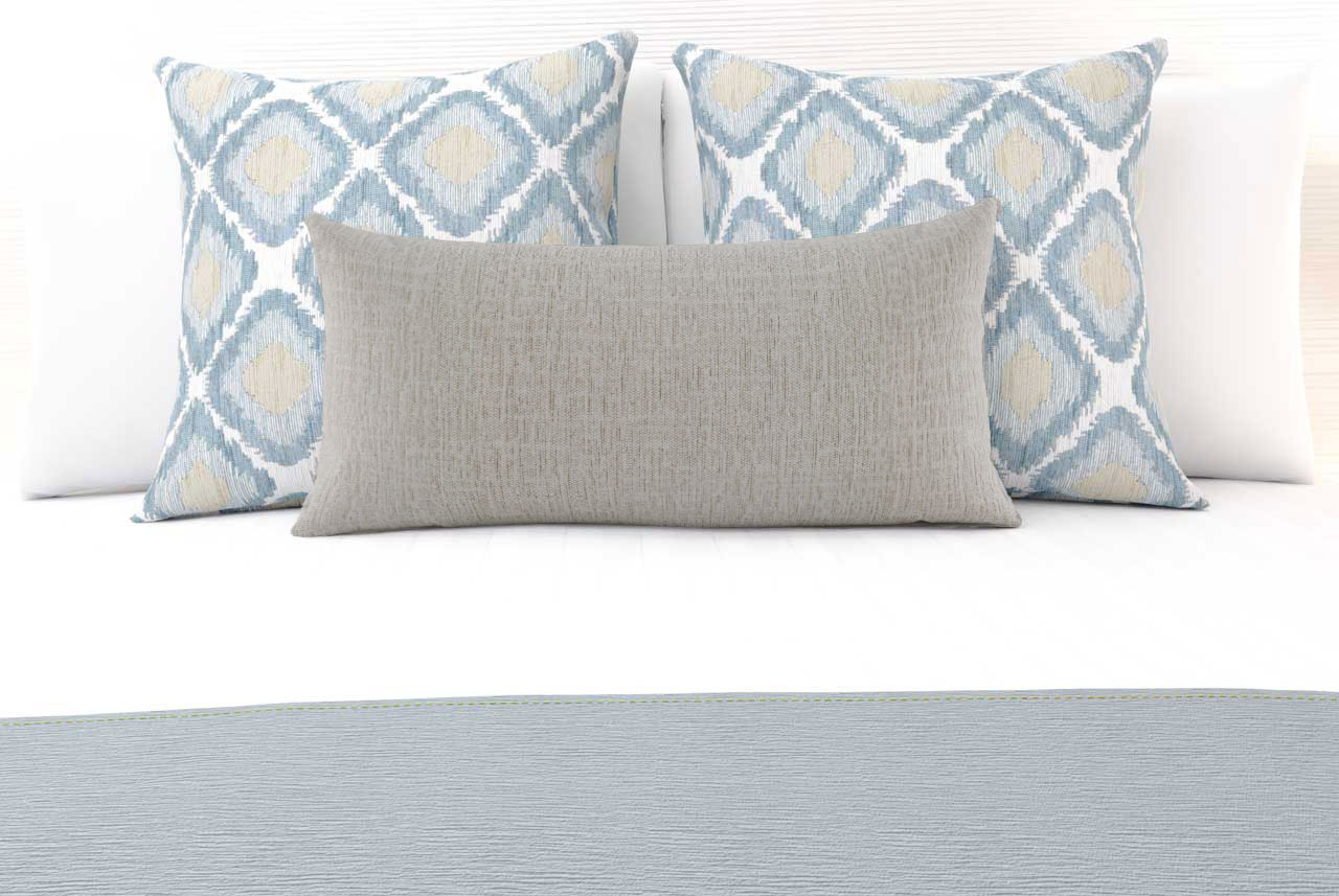 Ikat Blue Mist Large Decorative Cushion with Clipper Silk Breakfast Cushion and Clipper Denim Luxury Runner