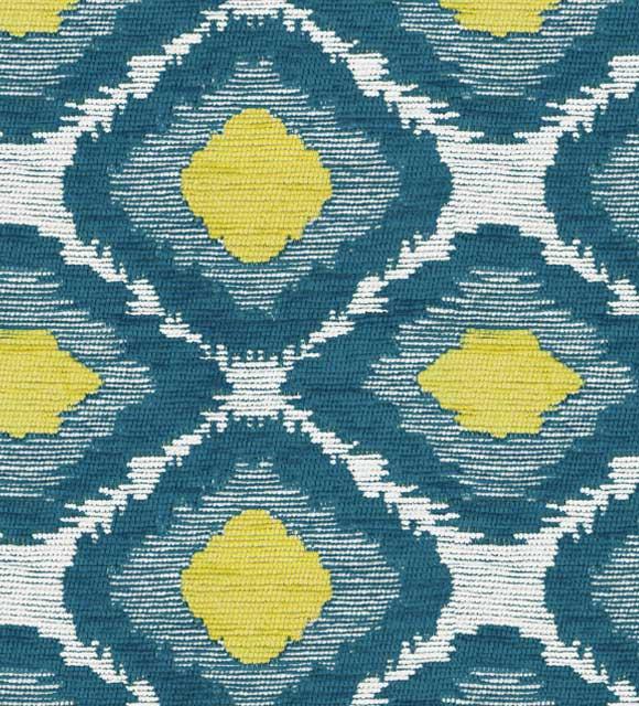HotelHome Luxury Chenille Fabric - Ikat Citrus Turquoise